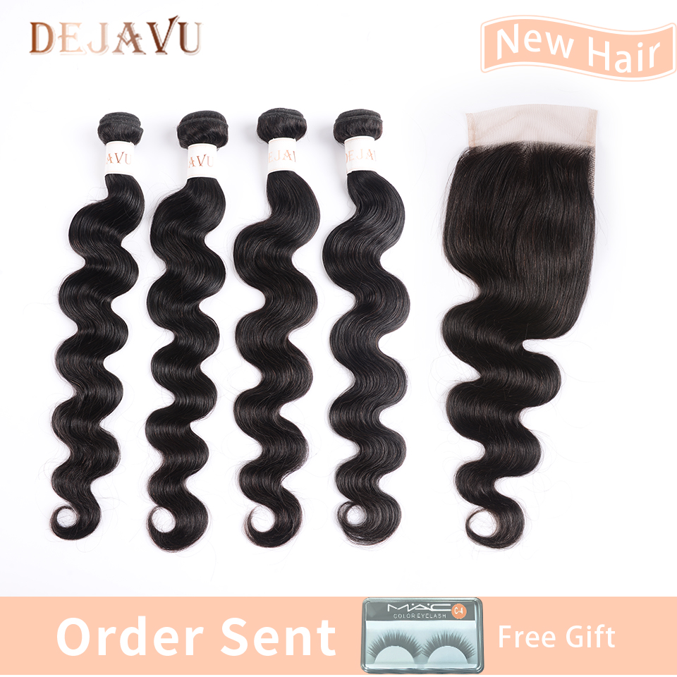 Dejavu Hair Body Wave Human Hair Bundles With Closure Free Part 4 Bundles Brazilian Non Remy Human Hair Weft With Closure