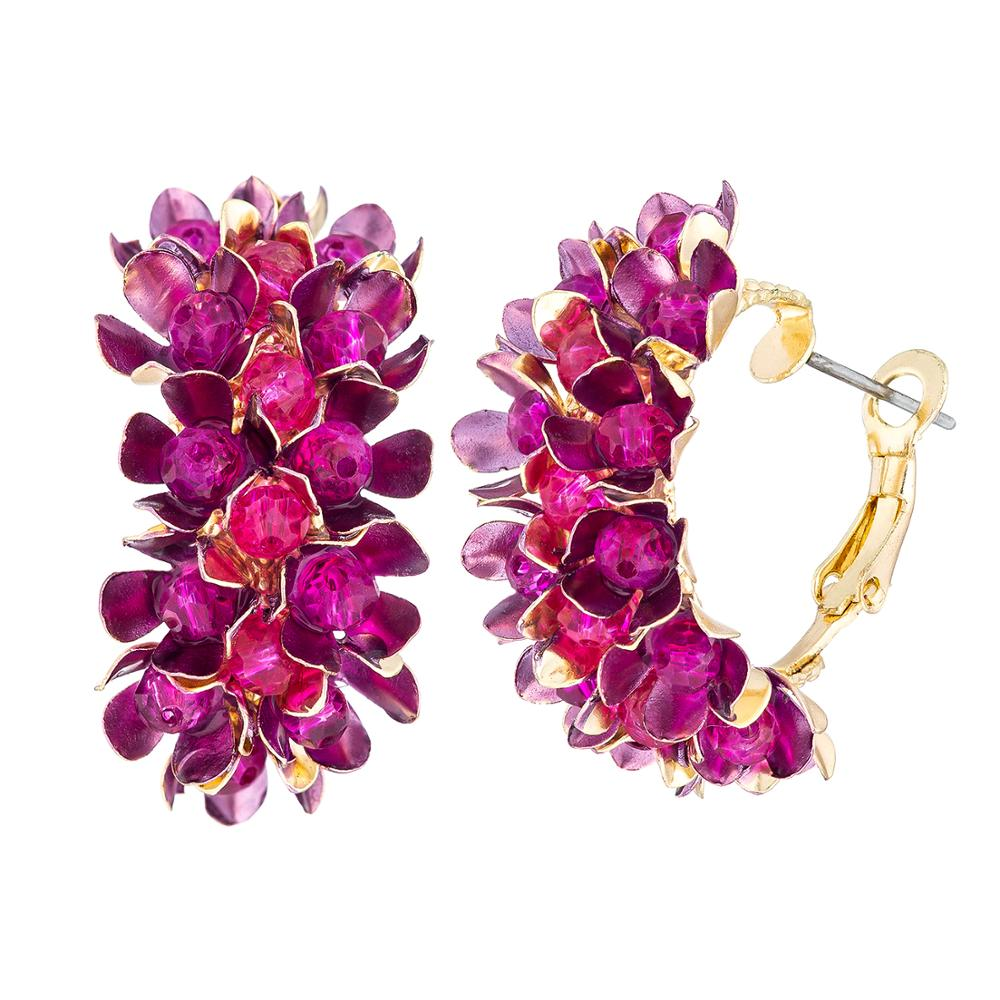 Wgoud New Design Brand Colorful Metal Flower Hoop Earring For Women Fashion Personality Colorful Floral Jewelry Gift