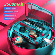 Novo 3500 mah sem fio bluetooth 5.0 fones de ouvido tws display led cabeça telefones esportes à prova dhifi água fone estéreo alta fidelidade