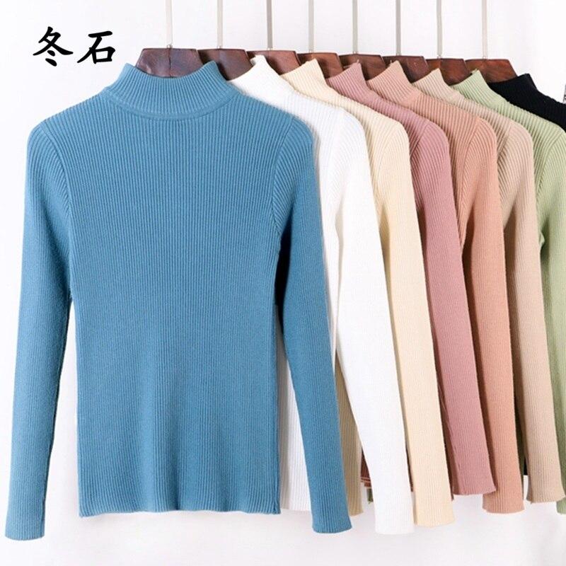 Solid Women Basic Sweater Long Sleeve Soft Female Jumper Turtleneck Pullover Tops Slim Fit Pull Hiver Femme 2018