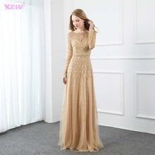 YQLNNE золото полный рукав вечернее платье со стразами Длинное Элегантное вечернее платье для женщин вечернее платье тюль бисером