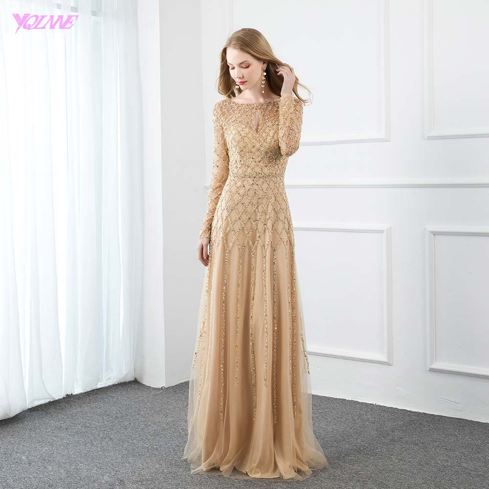 YQLNNE Gold Full Sleeve Crystal Evening Dress Long Elegant Formal Women Evening Party Gown Tulle Beaded