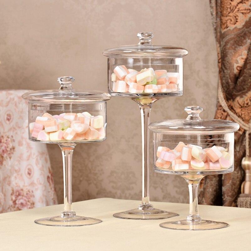Assiette à gâteau en verre transparente européenne | Plateau haut, cache-poussière, décoration d'exposition de table de dessert de mariage maison WF1104220