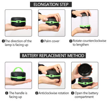 LED Multifunctional Telescopic Folding Camping Light Outdoor Flashlight Mini Tent Emergency Light Portable Pocket AA Flashlight 5