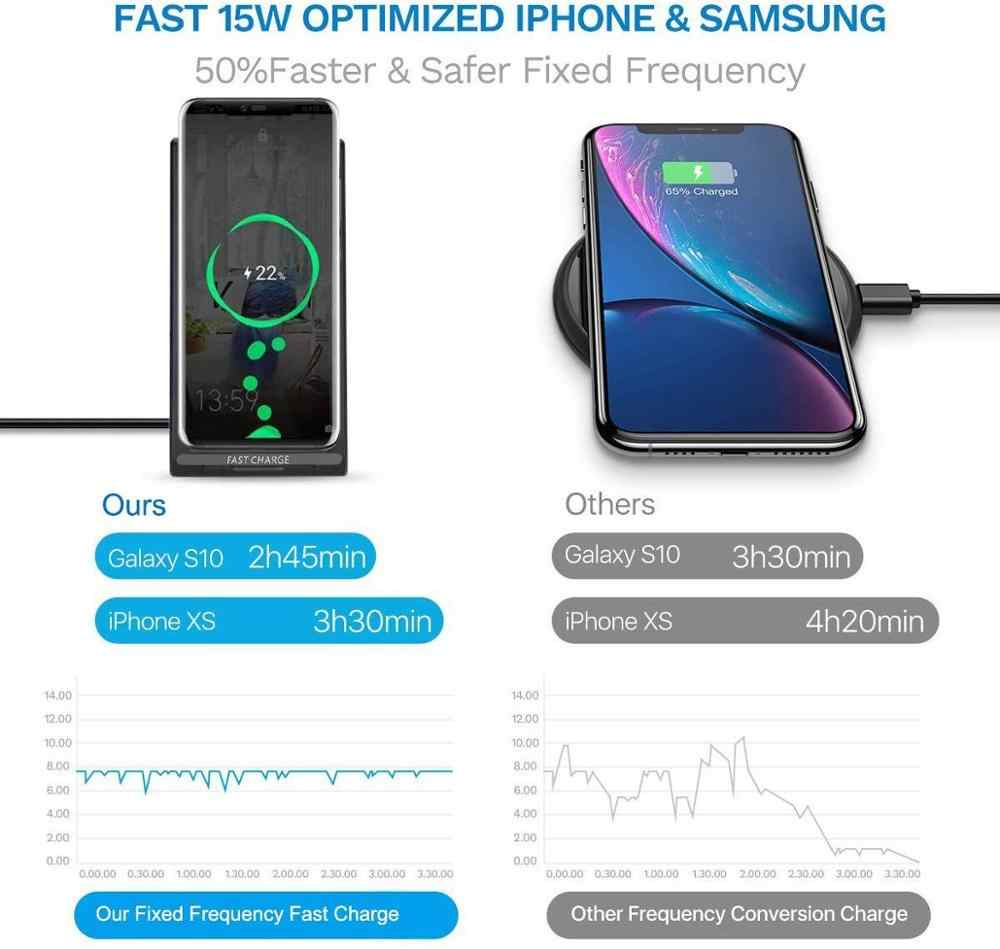 15W Cepat Qi Wireless Charger USB Tpye C QC 3.0 10W Cepat Pengisian untuk iPhone 11 Pro XS xr X 8 Airpods Samsung S10 S9 Catatan 10 9 8