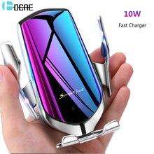 Otomatik sıkma kablosuz araç şarj dağı kızılötesi sensör QI 10W hızlı şarj tutucu iPhone 11 X XS XR 8 Samsung S10 S9