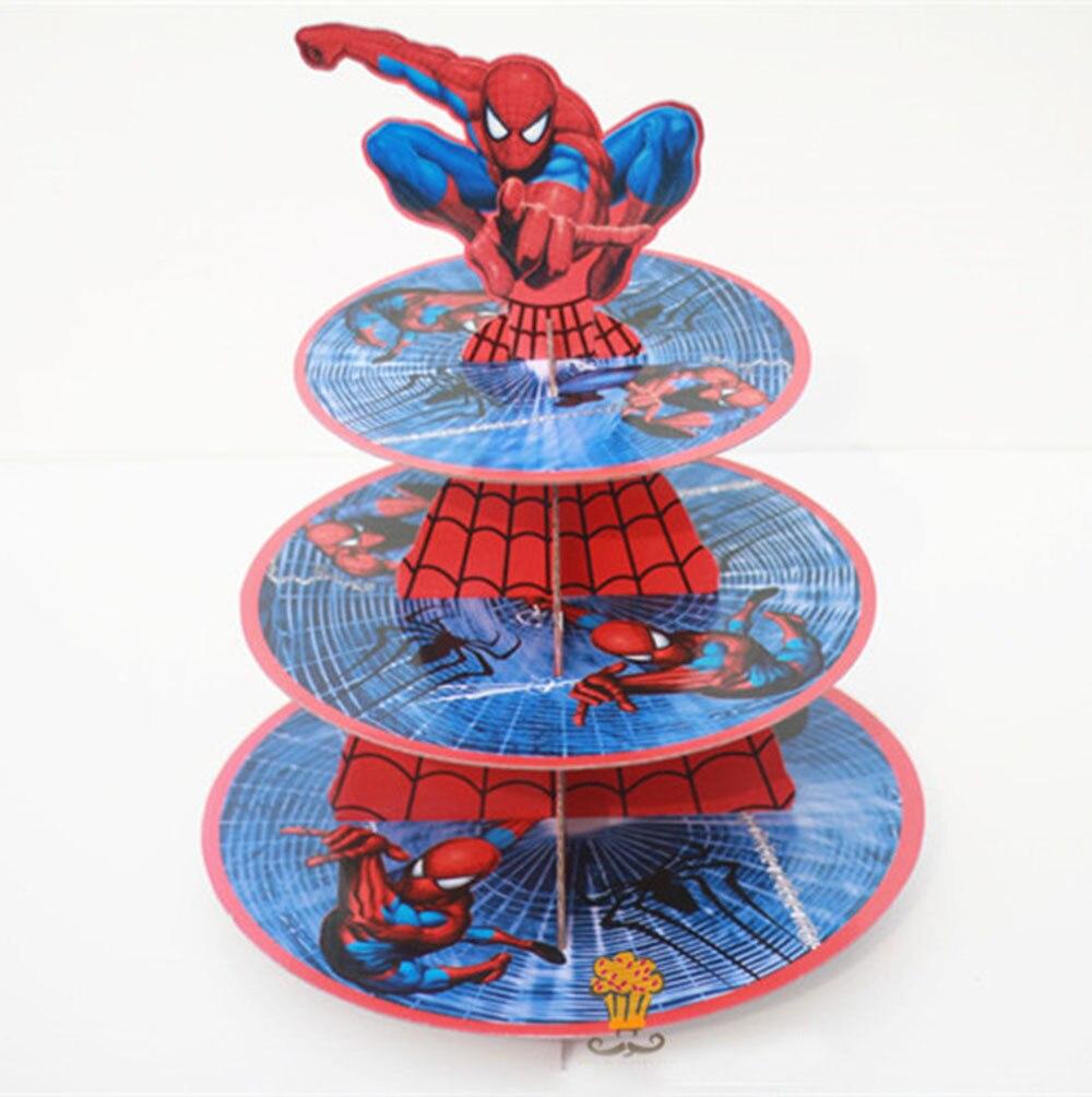1Pc 3 niveles Super héroe Spiderman Cupcake soporte pastel Cupcakes tema fiesta para niños niño niña decoración de cumpleaños Vestido de princesa de La Sirenita de las muchachas de voguek para niños disfraz de fantasía de Ariel de verano ropa de fiesta de playa de escala para niños