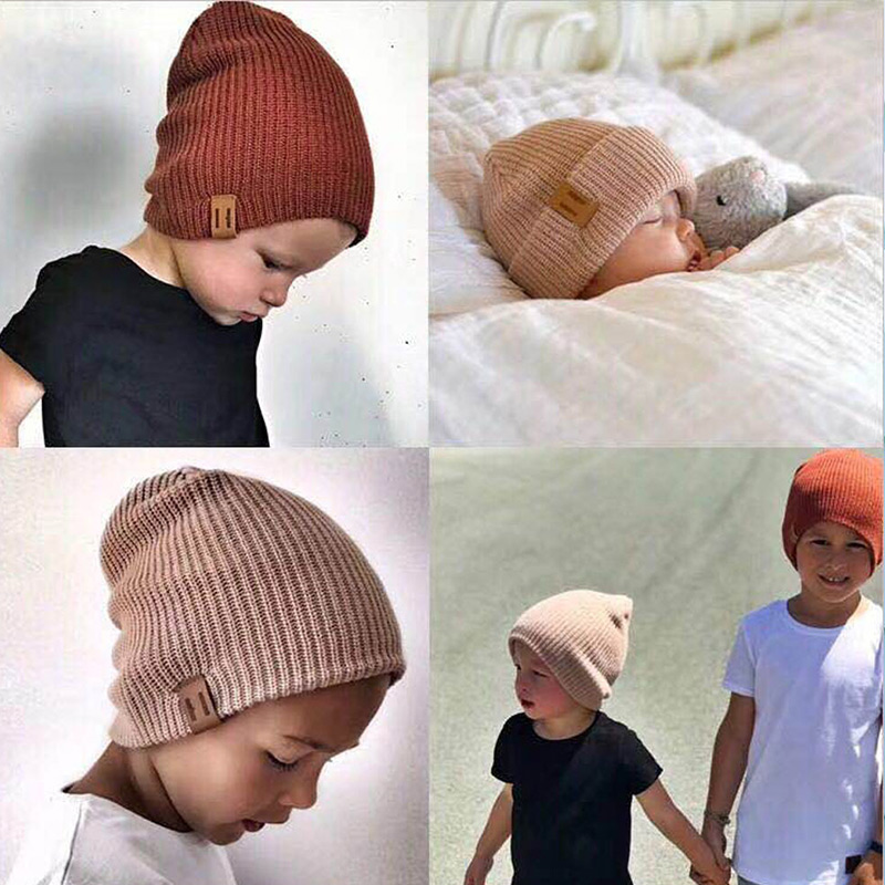 REAKIDS New Arrival Baby Girl Boy Winter Hat Baby Soft Warm Beanie Hat Crochet Elasticity Knit Hats Children Casual Warm Cap(China)