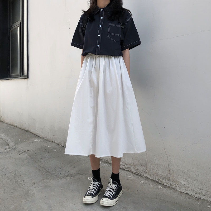 Autumn New Style Japanese-style Literature And Art Retro Simple Versatile Students Japanese Style Bib Skirt Hong Kong Style Long