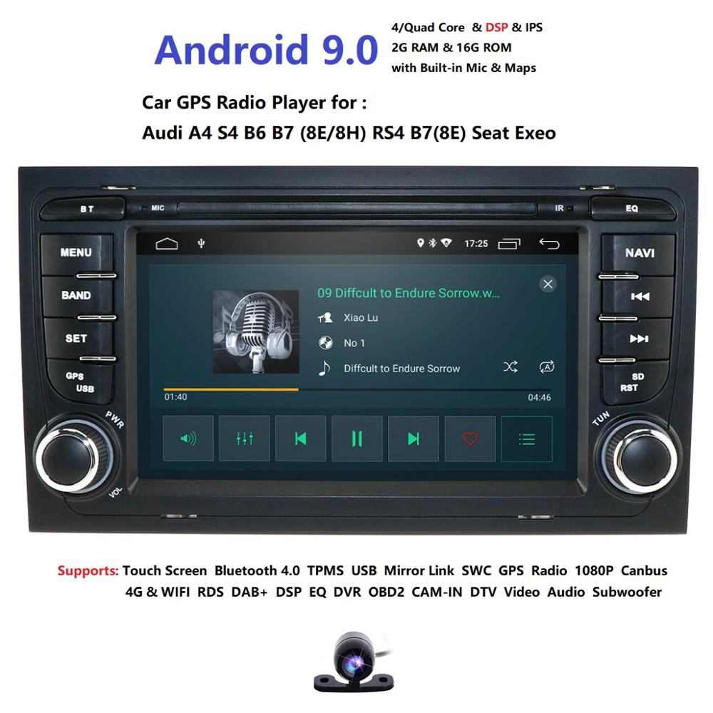 For <font><b>Audi</b></font> <font><b>A4</b></font> S4 RS4 8E 8F B9 B7 <font><b>B6</b></font> 2G 16G 4 core Android 9.0 2 Din Car radio <font><b>multimedia</b></font> player stereo GPS wifi obd2 DSP DVR image