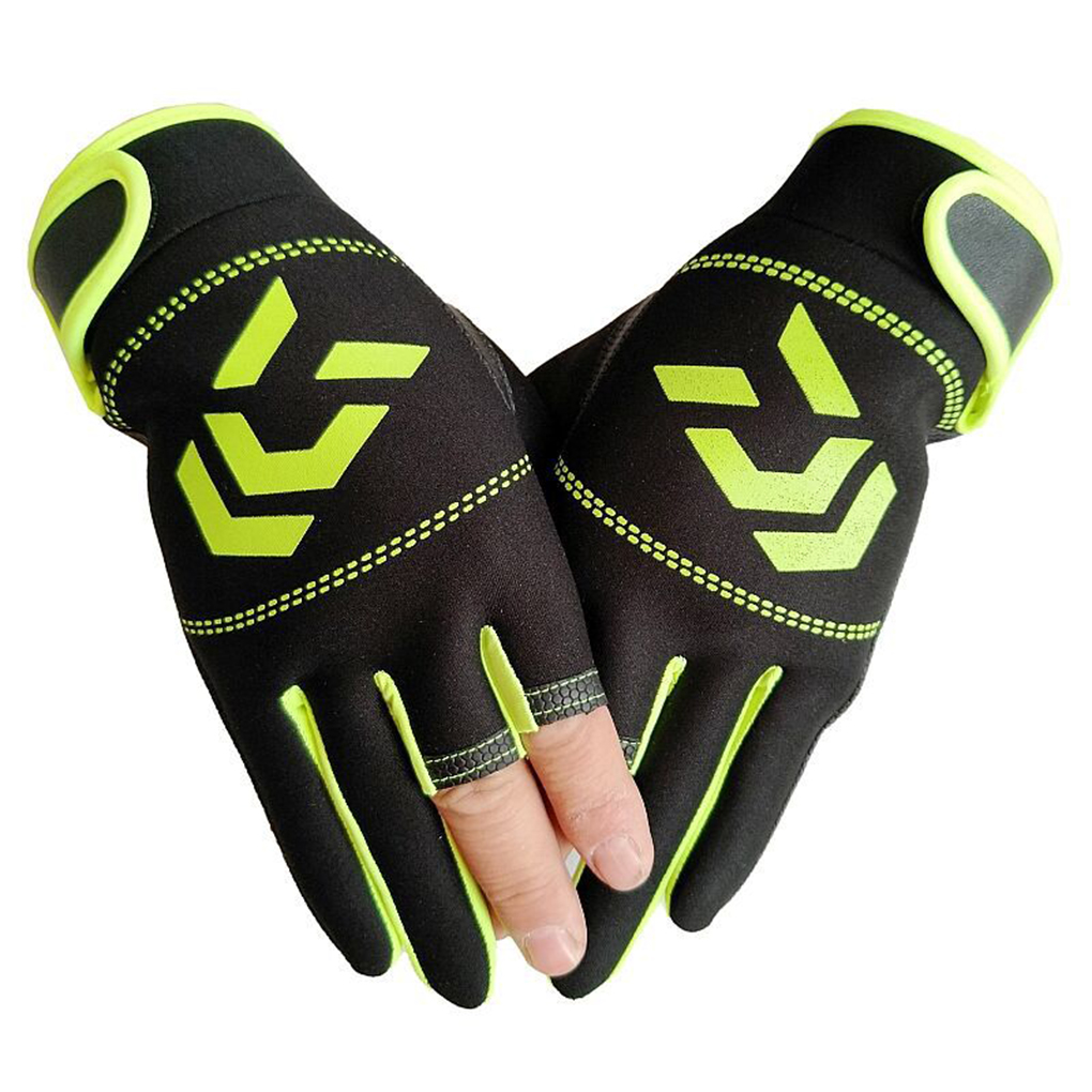 1 Pair Fishing Gloves Men Women Outdoor Fishing Anti-slip 3 Cut Finger Sports Fish Equipment Angling SBR Gloves