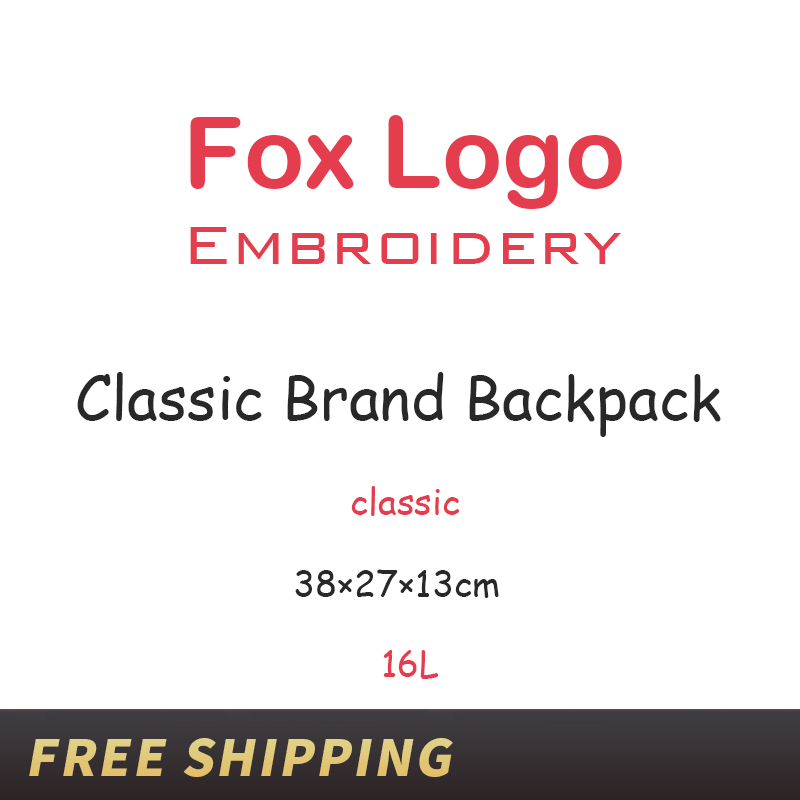 Young College Students Waterproof Laptop Bags Classic Brand Original Fox Embroidery Logo Backpack Outdoor Travel Unisex Mochila image