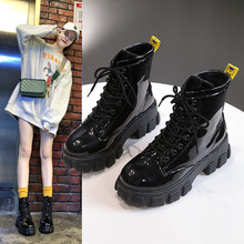 2019 New Combat Patent Leather Boots Women Lace Up Gothic Black Platform Leather Martin Ank