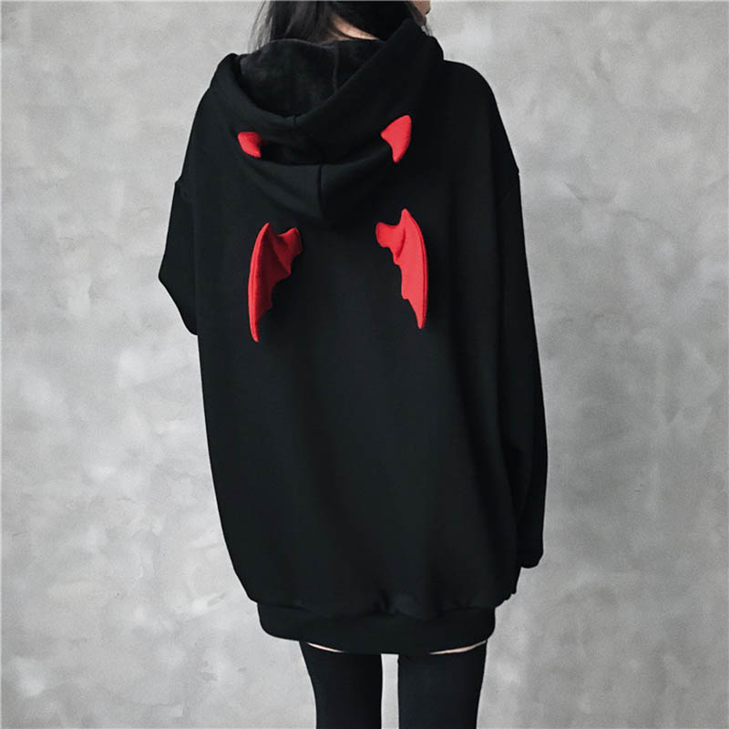 Letter Hooded Hoodies Sweatshirt Devil Wing Gothic Hoodies Women Oversized Streetwear Stranger Things Harajuku Long Pullover
