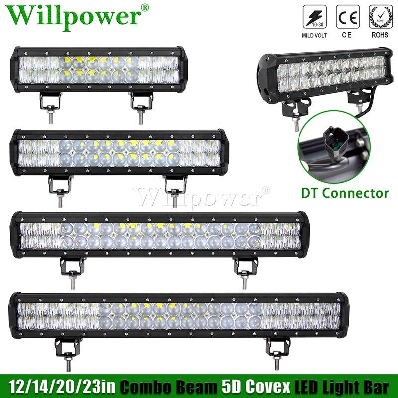 """SUV Car 12 """"14"""" 20 """"23"""" LED robocza listwa oświetleniowa 4x4 ciężarówka UTV ATV mgła Lightbar w/ 2 Pin kobieta Adapter gniazda DT złącze LED do baru"""