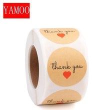 Coração forma redonda obrigado você etiqueta etiquetas selos etiqueta para presentes estudante artigos de papelaria abastecimento adesivos adesivos adesivos scrapbooking