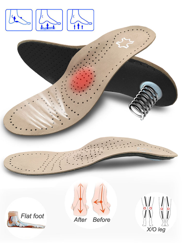 Orthotics-Insole Varus Foot-Arch-Support Fasciiti Plantar Flat Women Genuine-Leather