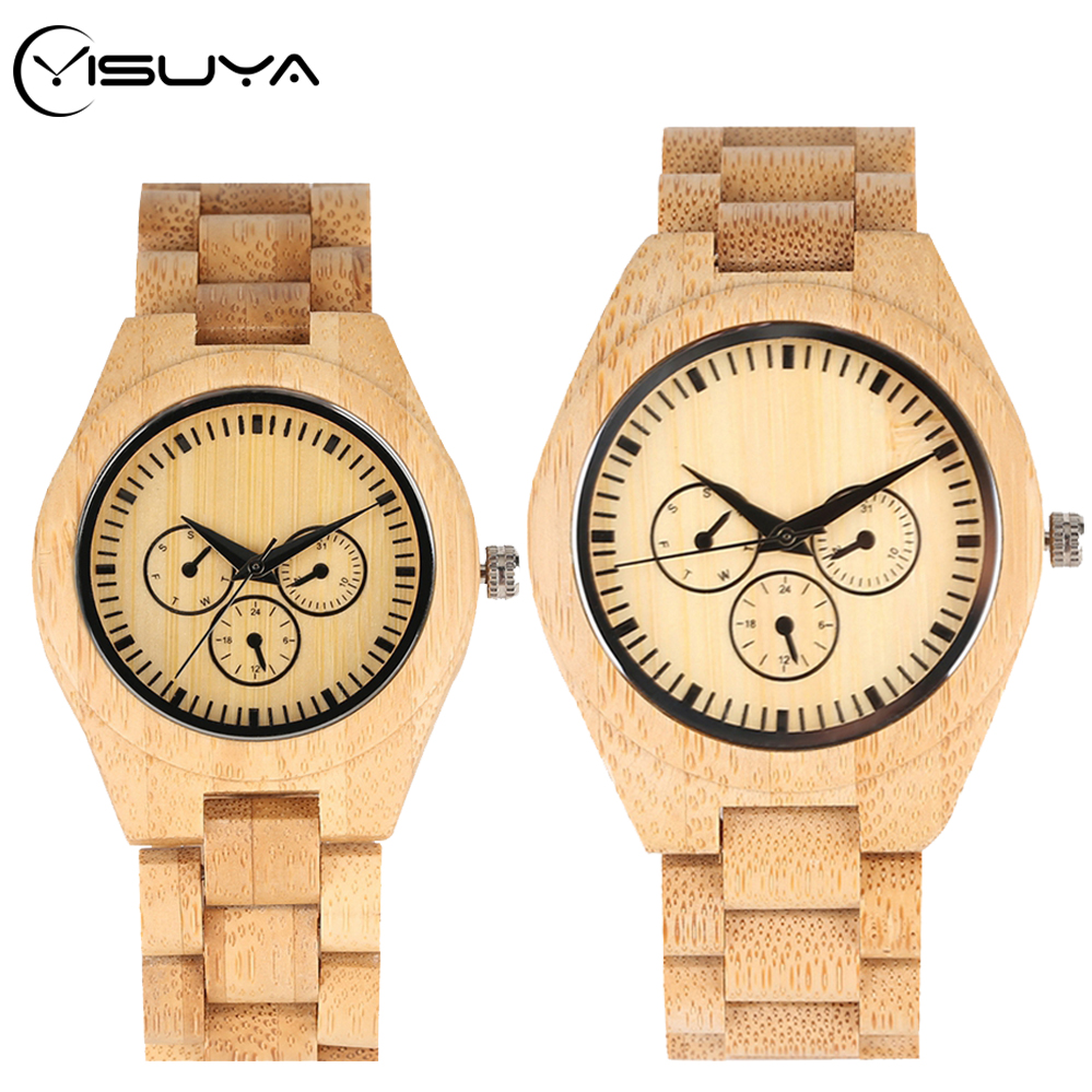 YISUYA Couple Bamboo Watches Wood Watch Three Circle Dials Display Clock Full Bamboo Wooden Band Quartz Wrist Watch Reloj Hombre