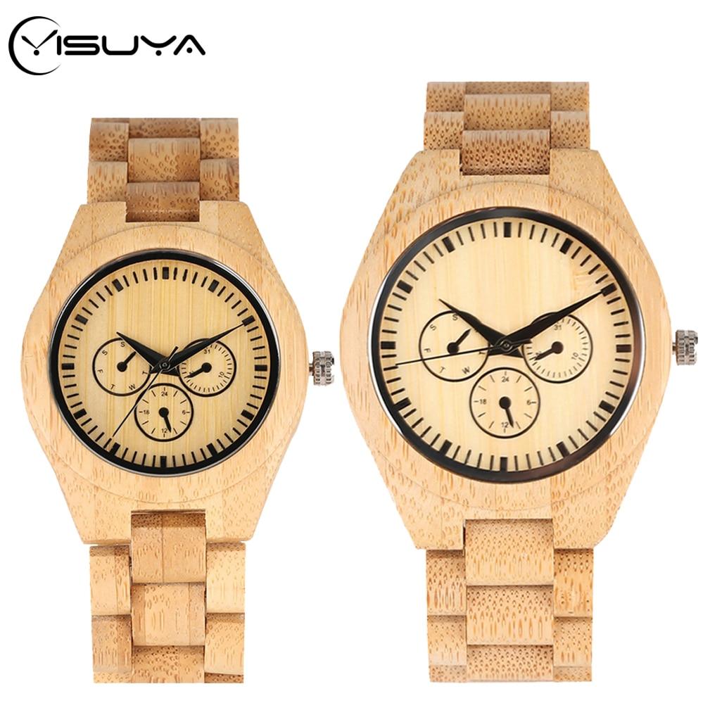 YISUYA Couple Bamboo Watches Wood Watch Three Circle Dials Display Clock Full Bamboo Wooden Band Quartz Wrist Watch Reloj Hombre