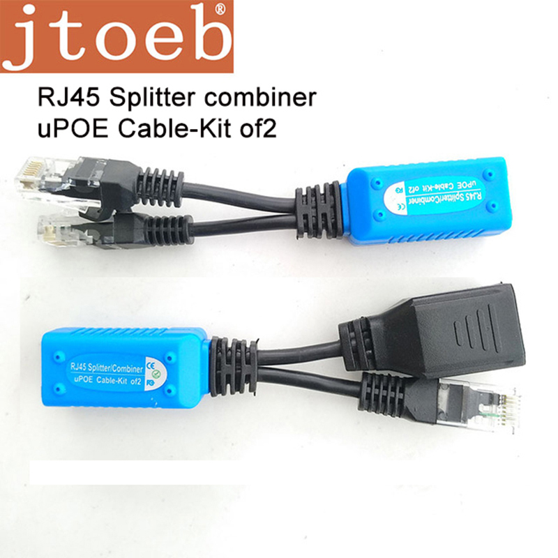 JTOEB UPoe Cable -kit 2 RJ45 Splitter Commbiner 2Poe IP Camera Transmission By One UTP Cat5/6e Work With D Poe Recorder