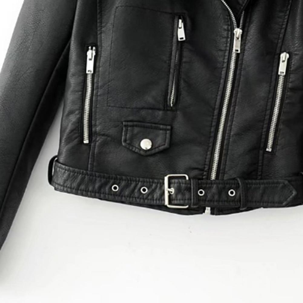 Haa72fe61e3c2484dbb9ddddd315e6f2aR Fashion Punk Women Coat Jacket Leather Long Sleeve Lapel Zipper Button Motorcycle Jacket Short Coat For Women's Clothings