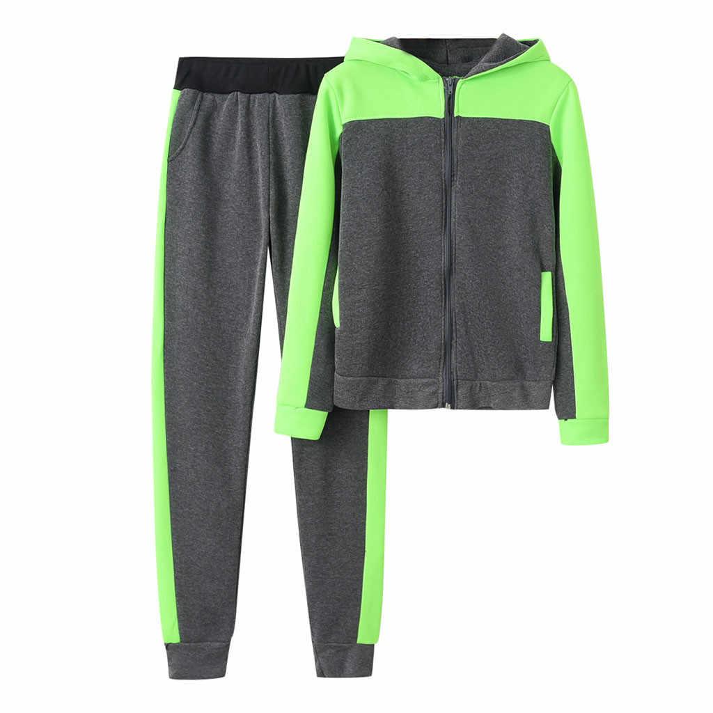女性のソリッドカラーのスエットシャツとパンツトラックスーツスポーツ