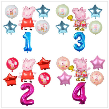 6pcs Cartoon Peppa Pig Foil Balloons 32inch Number Baby Boy Girl Helium Globos Happy Birthday Party Room Decorations Kids Toys