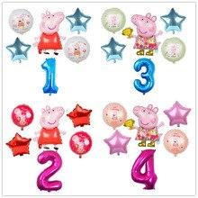Globos de aluminio de dibujos animados de Peppa Pig para niños, Globos de helio para niños y niñas con número de 32 pulgadas, decoraciones para habitación de feliz cumpleaños, 6 uds.