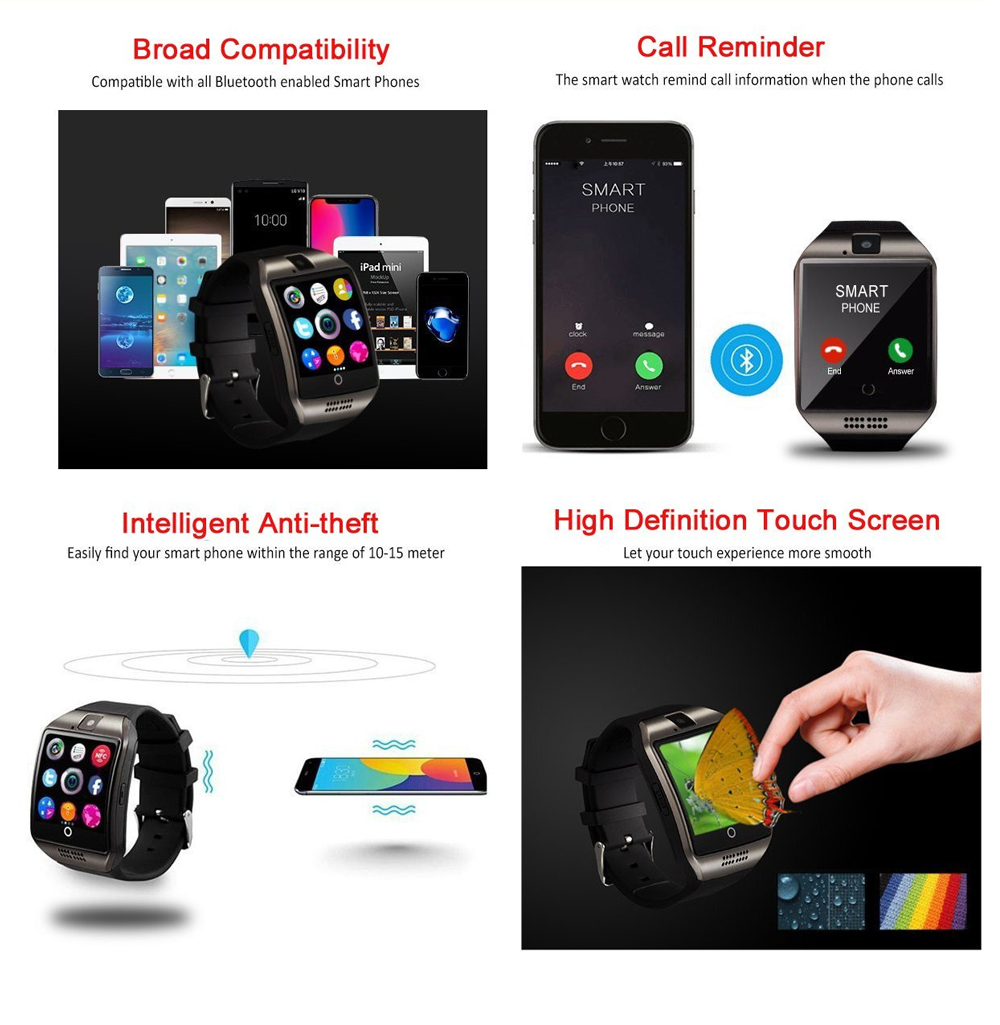 Sport watch smart camera, compatible with SIM card TF for IOS Android Features