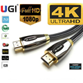 Плетеный HDMI-совместимый кабель UGI премиум-класса v2.0 HD высокоскоростной 4K 2160p HDTV Full HD FHD HDMI-HDMI вывод 0,5 м 1 м 2 м 3 м 5 м