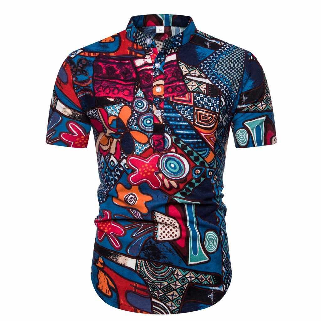Blusa de verano para hombres camisas étnicas de manga corta de algodón de impresión hawaiana Casual botones arriba camisas de vestir para hombres camisetas ropa