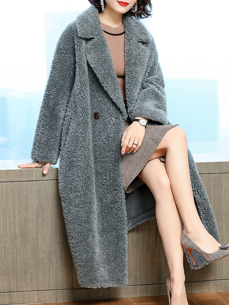 Coat Fur Real Female Warm Sheep Shearling Jacket Winter Coat Women 100% Wool Coats Korean Long Jacket Manteau Femme MY S