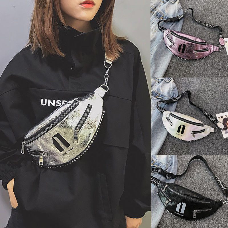 New Fanny Pack Waist Bag For Women Girl Fanny Pack Shoulder Chest Bum Purse Travel Rivets Punk Stud Tote