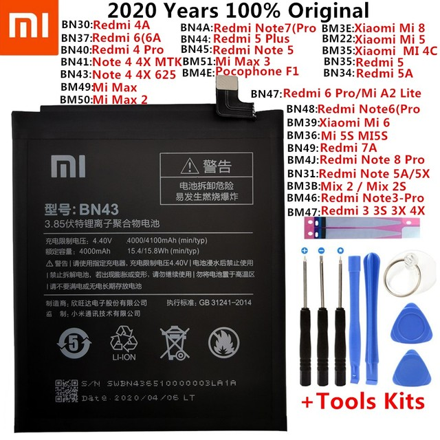 Original XiaoMi Replacement Battery For Xiaomi Mi Redmi Note Mix 2 3 3S 3X 4 4X 4A 4C 5 5A 5S 5X M5 6 6A 7 8 Pro Plus batteries 1