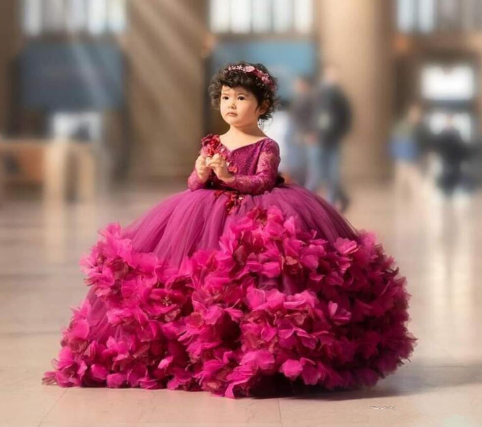 2020 Fuchsia Ball Gown Flower Girl Dresses Lace Handmade Flower V Neck Kids Pageant Dress Long Sleeve Girls Birthday Party