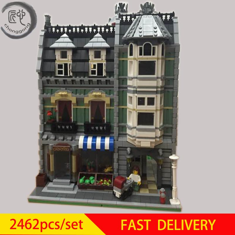 New City Street Green <font><b>Grocer</b></font> Model Building Kits Blocks Bricks Compatible 10185 Educationa Toy kid Birthday diy gift image