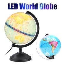 360 Вращающаяся Карта мира Светодиодный светильник с подставкой для дома и офиса, украшение стола для детей, обучающая игрушка в подарок