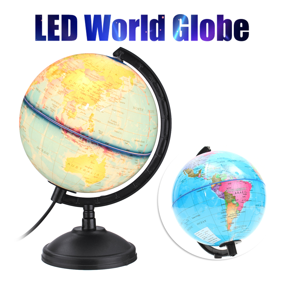 360 Rotation World Globe Map LED Light With Stand Home Office Desk Decoration Children Kids Earth Geography Educational Toy Gift