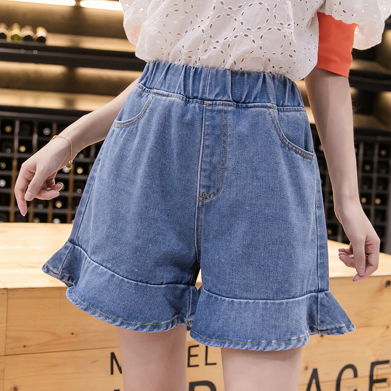 Lucyever Plus Size Women Denim Short Fashion Elastic High Waist Ladies Jeans Korean Casual Summer Blue Wide Leg Streetwear 2020