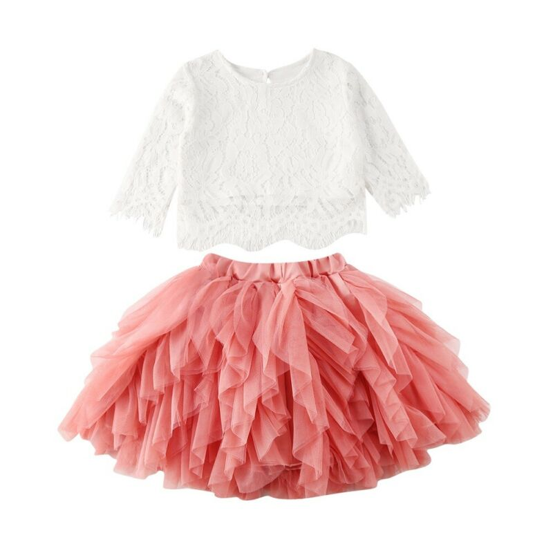 Baby Girl Infant Long Sleeve Bowknot Tops Tutu Skirt Dress Outfits 2pcs Clothes