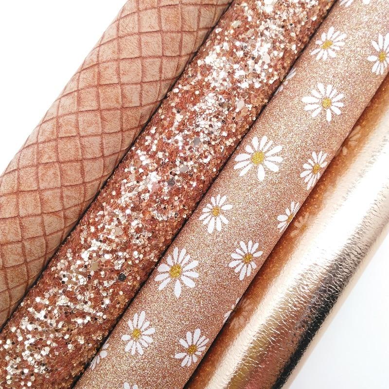 Розовое золото блестящие туфли-лодочки на устойчивом кожа, Дейзи блеск с принтом ткань, металлические змеиная кожа искусственная кожа 21x29 с...