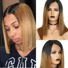 Bob-Wig Human-Hair Lace Brazilian Wigs Color with 1b/-27 Short-Bob Blonde Remy Ombre