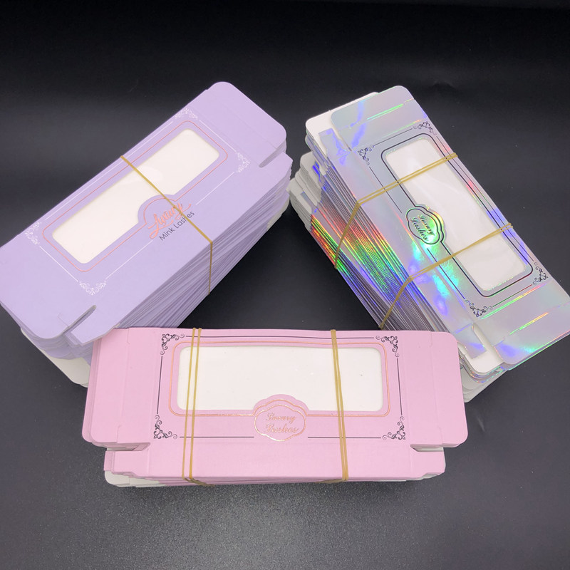 Mikiwi Wholesale False Eyelash Lavender Packaging Cardboard Box Pink Custom Logo 3d Mink Eyelashes Holography Boxes Empty Box