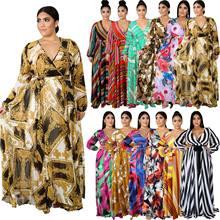 CM.YAYA Grande Taille S-5XL Floral Imprimé Rayé Longueur De Plancher Col V Maxi Robe Pour les femmes À Manches Longues Maxi Robes