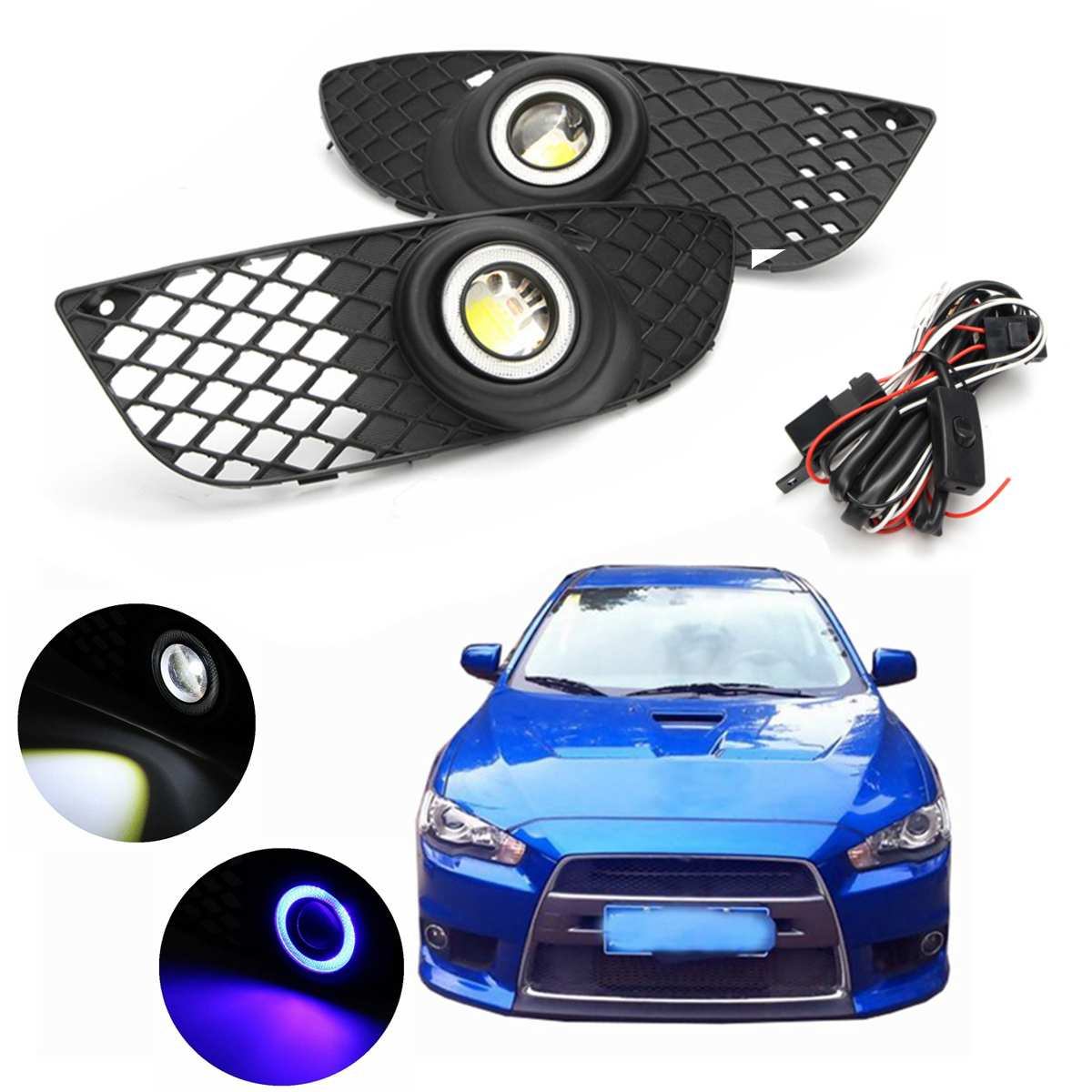 Pair 12V Black Housing Fog Light For Mitsubishi Lancer 2008-2014 Front Bumper Grille Driving Fog Lamp With Wiring Harness Switch