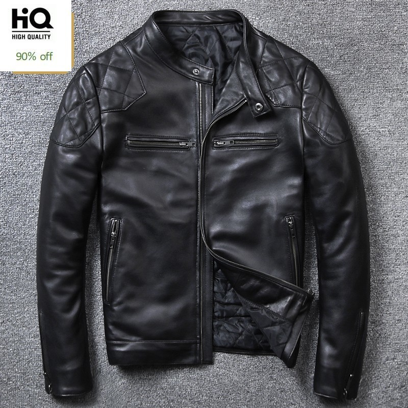High Quality Luxury Mens Genuine Leather Jacket Fashion Solid Short Biker Jacket Male Casual Pocket Zipper Coats Plus Size 5XL