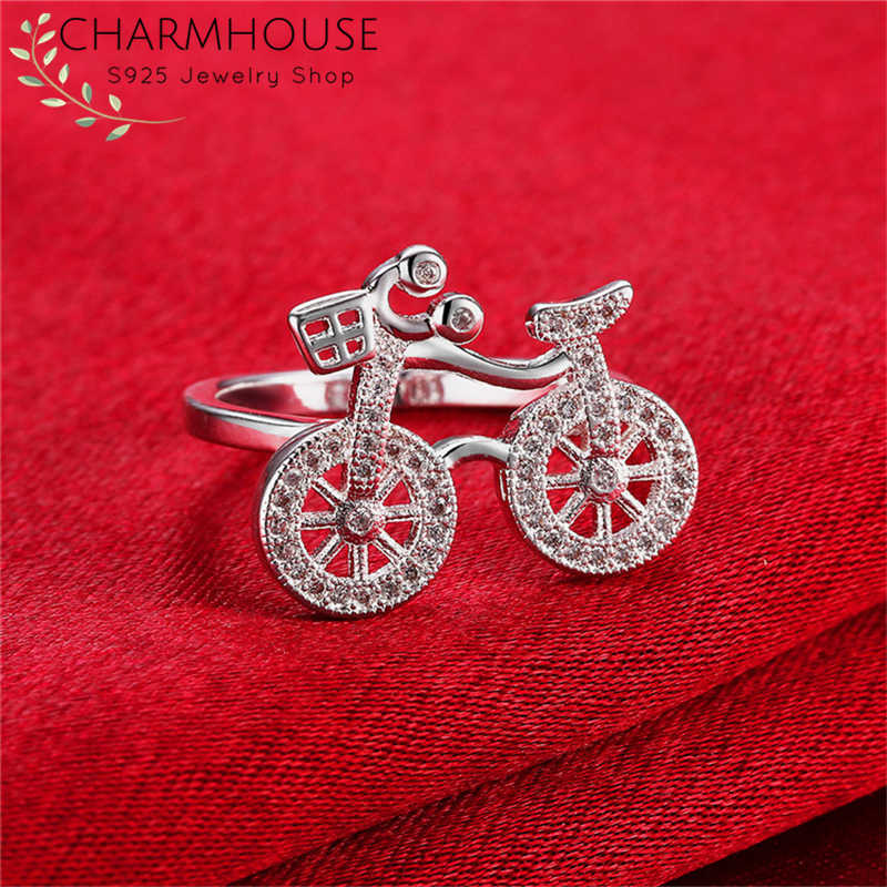 Pure 925 Silver Rings For Women Zirconia Bicycle Finger Ring Wedding Band Engagement Jewelry Wholesale Bague Anillo Gifts