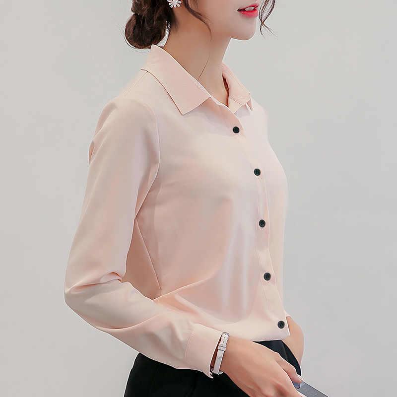 BIBOYAMALL 화이트 블라우스 여성 쉬폰 오피스 커리어 셔츠 탑 패션 캐주얼 긴팔 블라우스 Femme Blusa