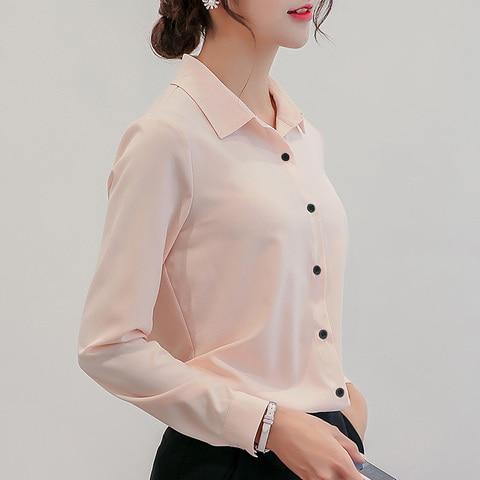 BIBOYAMALL White Blouse Women Chiffon Office Career Shirts Tops Fashion Casual Long Sleeve Blouses Femme Blusa Lahore