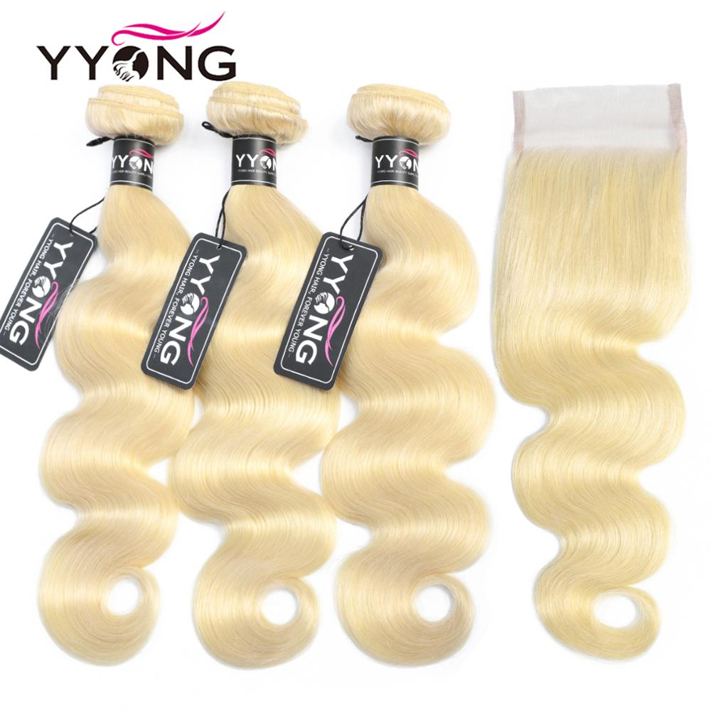 Yyong 613 mechones con cierre brasileño onda del cuerpo cabello humano mechones rubios con cierre Cierre de encaje con mechones 4 piezas/lote Remy